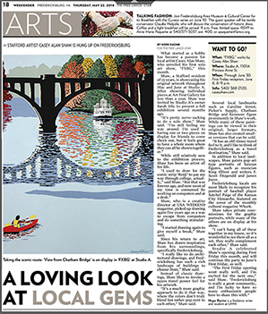 Article about Casey Alan Shaw in Fredericksburg Free Lance-Star Weekender, May 2014