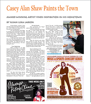 Article about Casey Alan Shaw in Front Porch Fredericksburg, July 2014